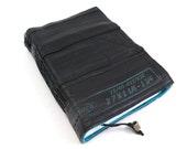 Journal, bike tube, recycled vegan handmade blank, medium turquoise felt linen velcro closure