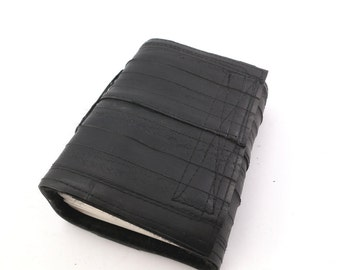 Recycled journal, bike inner tube, blank pages, black linen and black velcro closure, small.
