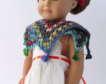 Handmade Crochet Doll Shawl Fits 18 inch doll Eight point shawl in self stripping yarn Also Fits 16 inch doll