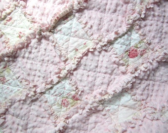 "Rose Baby Blanket, 34"" x 34"", Baby Rag Quilt,  Minky Baby Girl Blanket, Cottage Chic Decor, Flannel Baby Quilt, Pink Nursery"