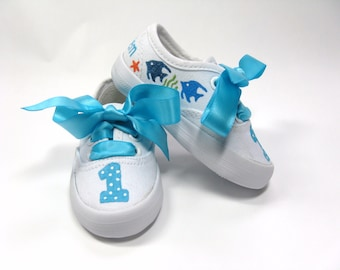 Fish Shoes, Personalized Starfish Sneakers, Ocean or Sea Theme Birthday Party, Hand Painted for Baby or Toddlers