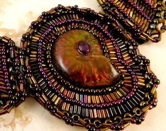 Opalescent Ammonite and Garnet Beadwork Necklace