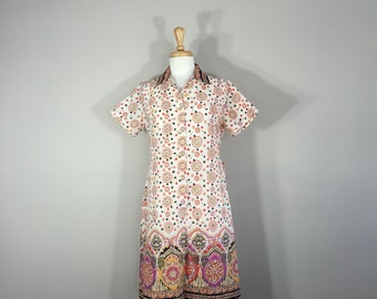 Vintage 50s House Dress, Vintage Rawson Squarw Crepe Print House Dress, Moroccan Print Dress, House Dress size 12 5