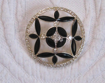 circle brooch . monet brooch . monet . black glass and rhinestone brooch . black crystal brooch