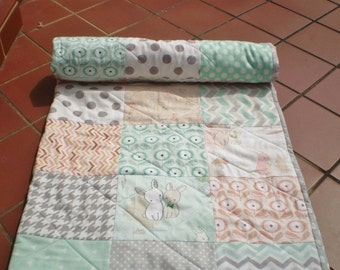 Modern Baby quilt-baby girl quilt, baby girl bedding,crib quilt,rustic,coral,mint green,grey,peach,rabbits,Art Gallery,Littlest-Bunny Hop