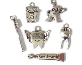 6 Assorted Dental Themed Charm Collection ITEM:AA17