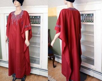 Vintage 80s 60s 70s vibe Maxi dress Caftan Kaftan Kimono Mumu Javanese embroidered beach dress boho hippie festival Mama Cass W US SHIPPING