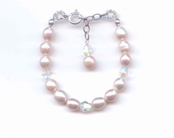 Girl's bracelet 6in child's adjustable 6mm peach rice freshwater pearl bracelet,  sterling silver clasp, baby pearl bracelet gifts under 10