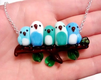 5 Bluebirds Snuggling on a Branch, Lampworked Necklace