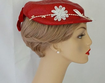 Vintage 1950s Hat Bright Red Straw Beret with White Beading Samuel Spigel Sz 22