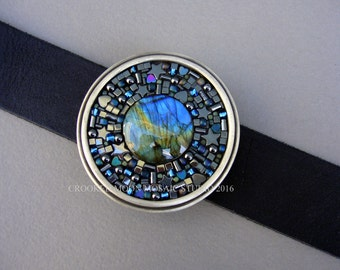Labradorite and Hematite Hearts and Stars Mosaic Belt Buckle and Leather Strap with Free Shipping!