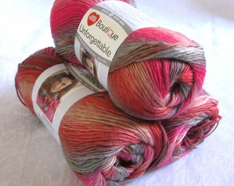 Boutique Unforgettable HEIRLOOM,  rose grey amber variegated worsted weight, Red Heart yarn