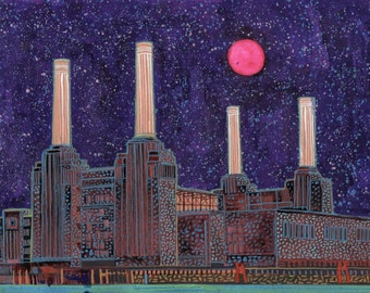 Battersea. A limited edition, numbered and signed A3 print from an Original Painting by Richard Friend