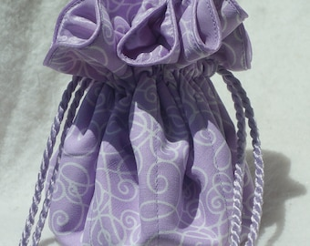 Lovely Lilac Scrolls Jewelry travel Pouch, bag, organizer, Bridesmaid gift