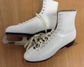 Womens Vintage White  Leather Ice Skates Sz 8