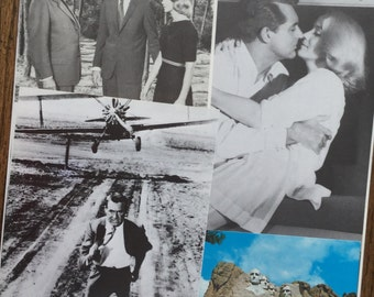 North By Northwest Starring Cary Grant & Eva Marie Saint Hitchcock Classic Vintage Movie Collage, Scrapbook and Planner Kit Number 2158