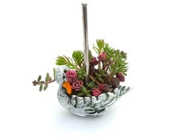Miniature Garden Swan Carousel Planter with Sedum Cuttings, Hand Painted, for Fairy Garden, Mini Garden, Bird Lover, Circus Carousel Car