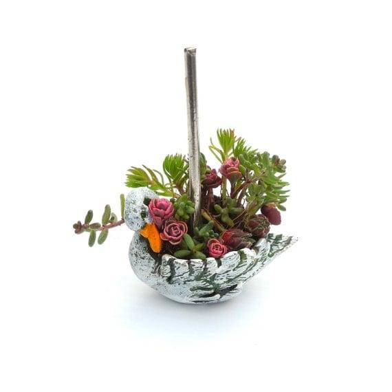 Miniature Garden Swan Carousel Planter With Sedum Cuttings