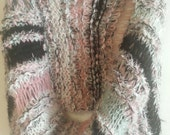 Pink black white blue green hand knitted infinity shawl scarf wrap
