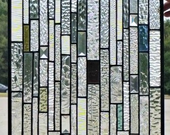 Stained Glass Hanging Panel - Textured Stipes - Re-purposed Glass (G-12)