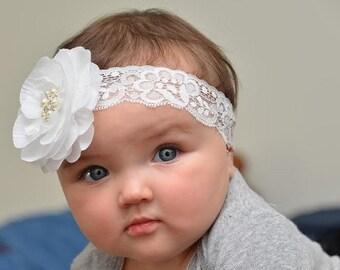 Baby Headband White Baby Christening Headband - White Lace Headband - Baby Girl Blessing Headband .... Baptism Lace and Pearls Headband