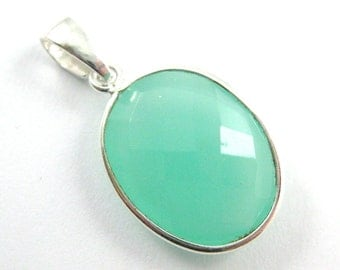 Bezel Pendant with Bail- Peru Chalcedony Gemstone Pendant- Sterling Silver Oval Gem Pendant Ready for Necklace -28mm-SKU: 601112-PER
