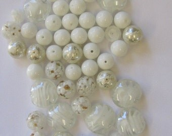 62 White Bead Mix, Glass, 20mm Flat Lampwork, 14mm Round, Matte 12mm Round, Faceted Rondelle, All in Photo, Destash Sale, Britz Beads Supply