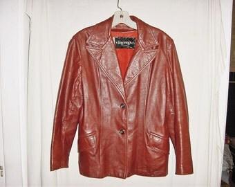 Vintage 70s Ladies Brown Leather Mod Jacket L Vincents