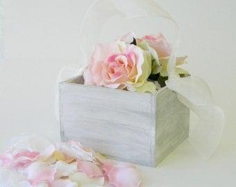 Flower Girl Basket  + White Distressed Flower girl basket