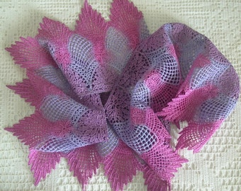 Wide Hand Dyed Venise Lace, Trim, Embellishment, Crazy Quilts, Sewing