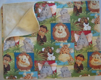 Baby Jungle Animal Sewn Blanket