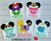 Disney -Inspired- Princess -Mouse- Ears - Applique Shirt -Jasmine -Snow White- Mulan- Ariel- Elsa- T-Shirt -  Embroidery - Monogram Name