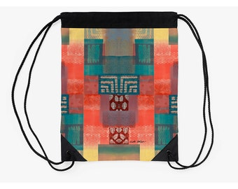 Cinch Backpack,Bag Tribal,Supplies for Back to School,Going Back to College Gift,Holiday Gifts for Students,Drawstring Pouch,Carry All Bag