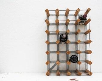 vintage industrial wood and metal wine rack / antique wine storage / farrow and jackson of london ltd