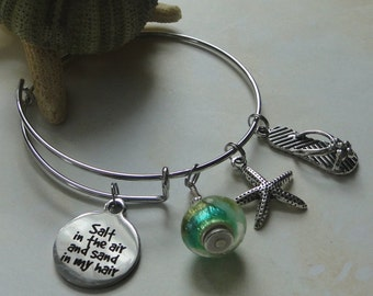 Salt in the Air and Sand in My HairExpandable Style Charm Bracelet  - FREE SHIPPING