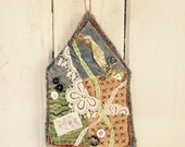 tattered embroidered hand stitched house door hanger key hanger