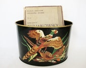 vintage desk organizer metal mail bin pencil letter holder pheasants game birds