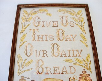 vintage cross stitch Give us this day our daily bread