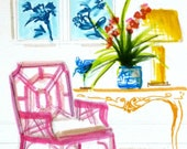 Lilly Pulitzer Bamboo Chippendale Chair Art Print of Original Furniture Ginger Jar Chinoiserie Bright Colors Blue Bird Orchid Blue and White
