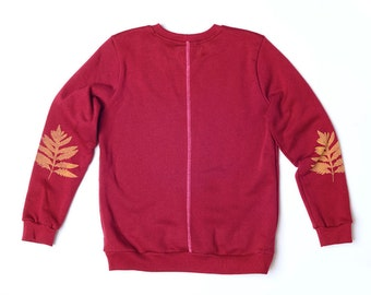 Screen printed Sweatshirt Fern elbow patch Burgundy
