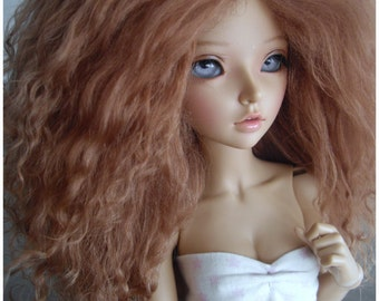 "Light Brown Tibetan mohair wig for size 7/8"" MSD Minifee hujoo"