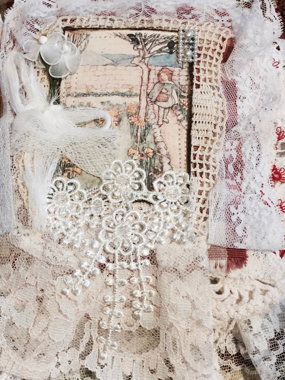 Little Girls in the Garden, lace album, lace collage book, Mixed Media Fabric book, Shabby Chic Lace Book,