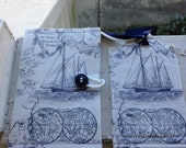 Passport cover/ luggage tag/ navy and white sailboat