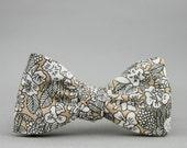 khaki floral bow tie  // self tie bow tie // floral bow tie