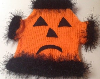 Large Pumpkin Face Hand Knit Dog Sweater Small Dog Yorkie Clothes Pet Maltese Chihuahua Poodle