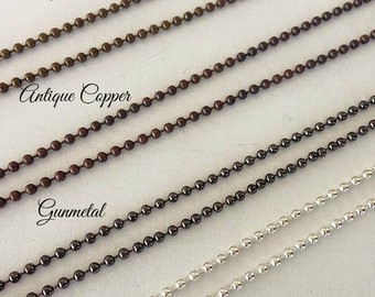 10 Ball Chains 24 inches Necklaces 2.4mm Supplies Antique Brass Copper Gunmetal Silver Plated