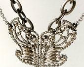 Cut Steel Butterfly Buckle Necklace