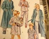 McCalls 6148 Childrens Boys or Girls Robe Nightshirt and pajamas Pattern size  12-14, Uncut