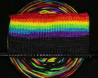 Black & Rainbow, Self striping Sock Yarn, Wide Stripe, Hand Dyed, Merino/Nylon - Out of the Dark - Neon Rainbow