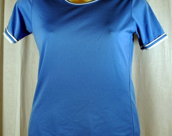Vintage 1960s Ladies  Blue Nylon T-Shirt with Contrasting Collar and Cuffs Binding - Blue and White Tee Shirt - Size Small